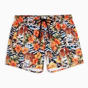 Leopard floral swim shorts  NWT